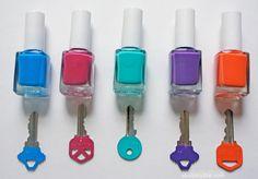 Ordning bland nycklar med hjälp av nagellack