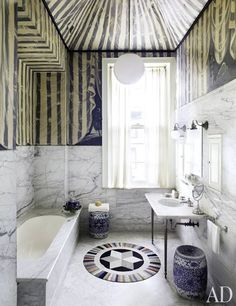15 Inspiring Bathrooms! Thomas Jayne designed this Philadelphia townhouse. The bath's ceiling was painted to resemble a tent.