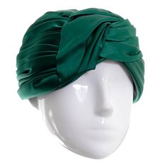 Vintage Christian Dior Hat Miss Dior Green Satin Turban style Chapeau 1960s   From a collection of rare vintage hats at https://www.1stdibs.com/fashion/accessories/hats/