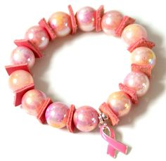 Pretty Pink & Leather Square armband voor Pink Ribbon € 38,95 -> Jewellicious Designs doneert € 6,83 aan Pink Ribbon.