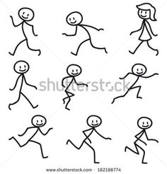 Illustration about Set of vector stick figures: Happy stick man walking and running. Illustration of smiling, stick, walking - 38950966 Stick Men Drawings, Art Drawings For Kids, Doodle Drawings, Drawing For Kids, Cartoon Drawings, Easy Drawings, Doodle Art, Running Drawing, Stick Figure Drawing