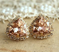 Rhinestone Crystal Vintage Pink stud earring bridesmaids gifts bridal earrings - 14k 1 micron Thick plated gold earrings real swarovski