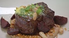 Eye Fillet with Beetroot and White Bean Puree
