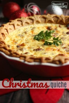 My family loves this Christmas Quiche! The savory sausage and sweet cranberries combine to make a delicious breakfast or appetizer for the Holidays. #breakfast #quiche #christmasquiche #holidaybreakfast #favoritefamilyrecipes