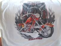 American Chopper's Firebike on a Re-wash White XXL tee shirt w/free shipping