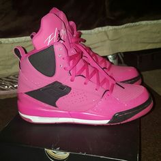 Girls Jordan Flight 45 These shoes are super cute..Pink sneakers with a hint of glitter.  Practically brand new. Jordan Shoes Sneakers