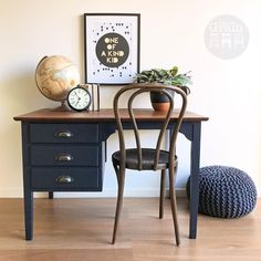 """177 Likes, 5 Comments - Rebecca • With the Grain • QLD (@withthegrainhome) on Instagram: """"Handsome silky oak desk in a Deep Navy custom mix @fusionmineralpaint . The top has loads of rustic…"""""""