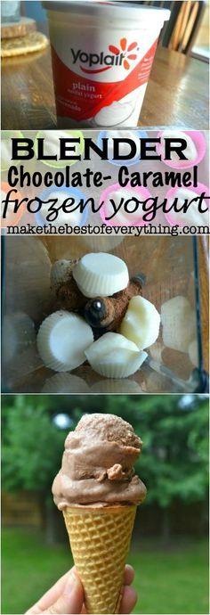 Chocolate-Caramel Blender Frozen Yogurt #ad