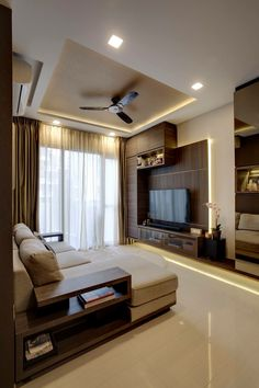 sample for: 1) lighting + fan placement 2) ceiling height heavy drape 3) sofa placement 4) TV + sound + cabinet placement