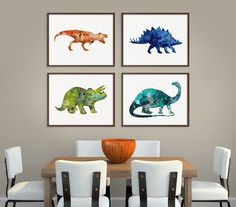 Dinosaur Art Print, Set of 4 Prints, Dinosaur Poster, Dinosaur Wall Decor, Dinosaur Wall Art, Watercolor Dinosaur, Kids Room Decor, Nursery