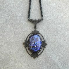 Victorian Fire Opal Necklace in Antique Floral Frame with Hand Oxidized Double Length Chain Gothic Jewelry