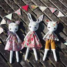 Hand embroidered cats and rabbits dressed in Liberty fabric outfits are waiting for you in my shop x