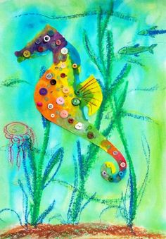 Bead & Button Seahorse: Ages 3-5 - Art Workshops for Libraries - I'd luv to try this... older too.. create the background and make paper for the horse, then cut out, glue on, decorate... fun!