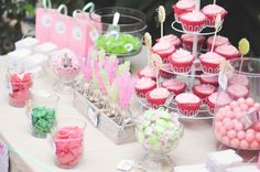 pink and green candy buffet for a twin girl baby shower