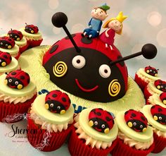Gaston ladybug cake cupcakes Ben and holly Ben And Holly Party Ideas, Ben And Holly Cake, Ben E Holly, 5th Birthday Party Ideas, Tea Party Birthday, 3rd Birthday, Pretty Cupcakes, Fun Cupcakes, Cupcake Cakes