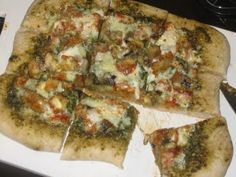 Eggplant parm pizza with pesto sauce