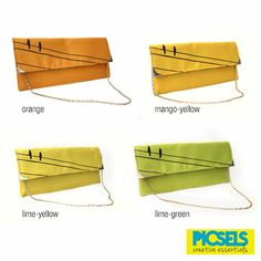 'Birds on the line' collection: Digital printed silk clutches available in 4 vibrant colours.