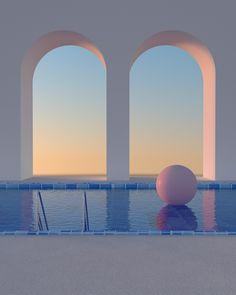 Somewhere in the World on Behance Blue Aesthetic, Aesthetic Photo, Aesthetic Pictures, Minimalist Architecture, Architecture Design, Ästhetisches Design, Usa Tumblr, Retro Futurism, Surreal Art