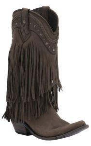 8ca595521a39 Liberty Black Women s Smog Vegas T-Moro Fringe Snip Toe Western Fashion  Boots