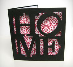 new home congrats card  -  HOME large die-cut letters in square O tilted like iconic retro LOVE square