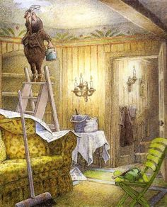 The Mole Spring Cleaning - Illustration by Inga Moore from Wind in the Willows by Kenneth Graham The Mole, Children's Book Illustration, Book Illustrations, Book Art, Fairy Tales, Drawings, Artwork, Kenneth Grahame, Spring Cleaning