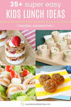 Easy lunch ideas for kids don't have to mean sandwiches everyday. Pack a lunchbox they'll love with recipes for roll-ups, lettuce wraps, dips, and more! Rolled Sandwiches, Sandwiches For Lunch, Turkey Sandwiches, Wrap Sandwiches, Apple And Peanut Butter, Peanut Butter Sandwich, Easy Lunches For Kids, Kids Meals, Quinoa Breakfast Bars