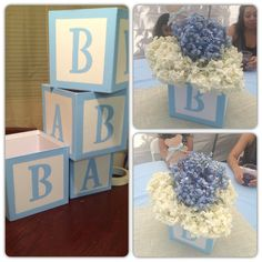 DIY Baby Shower Centerpieces for Boys - Baby Blocks Diy Baby Shower Centerpieces, Baby Shower Decorations, Baby Shower Ideas For Boys Centerpieces, Christening Centerpieces, Shower Party, Baby Shower Parties, Baby Showers, Baby Shower Games, Baby Boy Shower