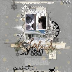 Digi Cat Sketch, Scrapbooking Layouts, Mixed Media, Memories, Crafty, Pets, Frame, A4, Snow