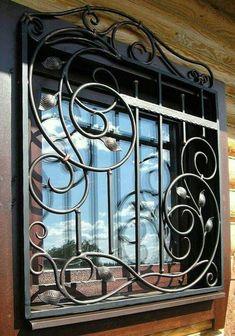 35 Interesting Window Security Bars - Home & Garden: Inspiring Interior, Outdoor and DIY Ideas Wrought Iron Decor, Wrought Iron Gates, Iron Windows, Iron Doors, Window Security Bars, Iron Window Grill, Burglar Bars, Window Bars, Window Grill Design