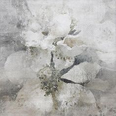 Lightly Frosted 2. Rustic Floral Painting White Gray Rustic