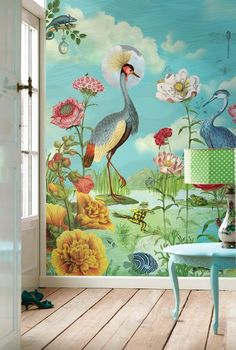 Kiss the Frog wallpaper - Pip Studio the Official website Frog Wallpaper, Nursery Wallpaper, Peacock Wallpaper, Funky Wallpaper, Paint Wallpaper, Scenic Wallpaper, Wallpaper Online, Pip Studio, Kindergarten Wallpaper