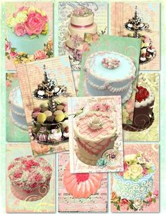 Set of 9 ShaBby Marie Let Them Eat CaKe by pinkpearlstudio on Etsy, $3.50