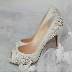 Custom Christian Louboutin shoes, designed by Christian himself. Designer Wedding Shoes, Wedding Shoes Bride, Bride Shoes, Designer Shoes, Wedding Stuff, Dream Wedding, Perfect Wedding, Wedding Dresses, Plain White Shoes