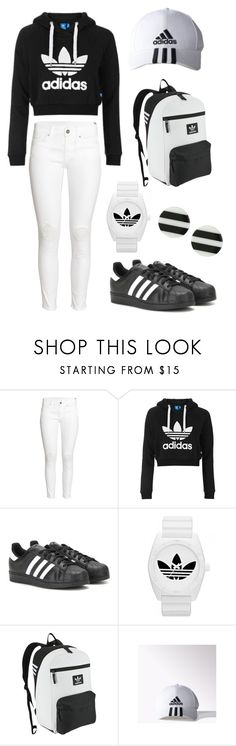 Designer Clothes, Shoes & Bags for Women Black Stripes, Adidas Originals, White Jeans, Kate Spade, Topshop, Sporty, Shoe Bag, Polyvore, Pants