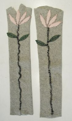 Hand stitched & repurposed heather gray cashmere armwarmers w/cashmere and leather flower seams.