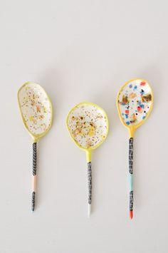 Colored Ceramic Spoon - handmade by Brooklyn artist Suzanne Sullivan.