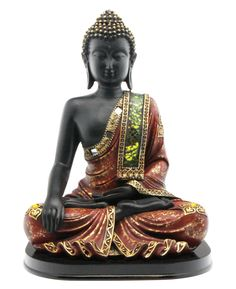 Black Resin Buddha Statue with Mosaic Design on a Base