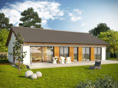 AVATAR 2 - projekty domów parterowych średnich 100-140m2. Studio Krajobrazy. Workshop Shed, Tiny House Design, Facade House, Glass House, Cottage Homes, Architecture, Rustic Farmhouse, Home Remodeling, House Plans