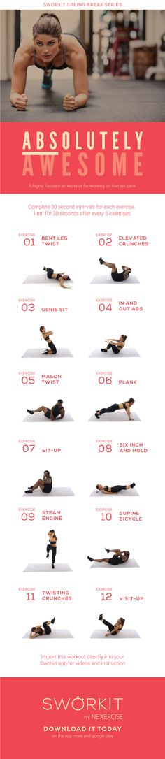 Sworkit posted this on Record: Speaking of abs a few days ago, give our ABSolutely Awesome free workout a shot. #nogymnoexcuse.