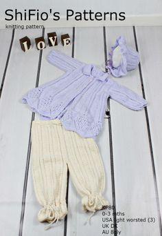 Knitting Pattern - KP27 -  Matinee Jacket, Trousers, Hat - 0-3mths - UK Terminology