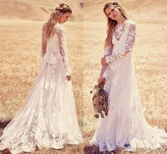 Long Sleeves Wedding Dresses Sheer Crew Neck 2016 Cheap Boho Beach Country Bridal Gowns Appliques See Throughbohemian Lace Wedding Gowns Gowns For Wedding In Wedding Dress From Lovemydress, $160.21| Dhgate.Com