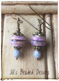 Pink Lampwork Glass Earrings Lilic Earrings Antique Brass