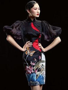 Modern cheongsam. Interesting design!