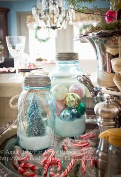 Love the vintage Ball jars filled with christmas ornaments or flocked trees! Great holiday decorating idea! - Far Above Rubies: ~Country Christmas Home Tour~