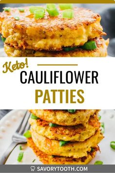 Satisfy your cravings for tater tots or hash browns while on a keto diet. These cheesy and crispy cauliflower fritters are a delicious breakfast meal -- whether you call them patties, pancakes, cakes, or rice fritters -- they are cheesy, easy to make, and flourless (no flour needed). They are great for healthy diets like low carb and gluten free.