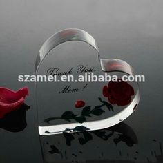 Crystal acrylic handmade funny special heart shape photo frame with magnet for wedding gift