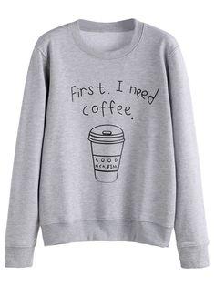 Grey Coffee Cup Letters Print Sweatshirt