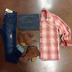 Campfires. S'mores. Flannel Nights.  Vintage Washed Flannel $44. [in-store, call or email to purchase] Flannel Nights V-Neck $36. Vintage Washed Skinny Jean $72. Booted Fringe $68. [online & in-store]  479-464-9261 or info@shopelysian.com #plaid #flannel #fallstyle #fringe