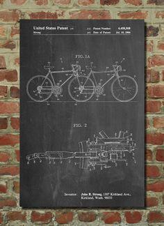 Tandem Bicycle Poster, Tandem Bicycle Patent, Tandem Bicycle Print, Tandem Bicycle Art, Tandem Bicycle Decor, Tandem Bicycle Wall Art