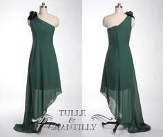 Dark green floral one shoulder unique prom dress by TulleandChantilly, $129.00